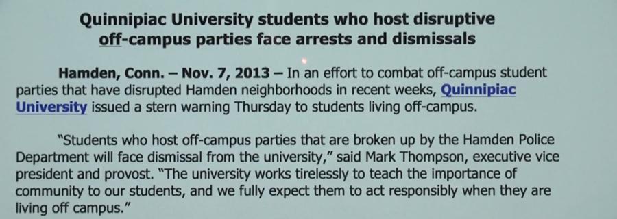 Quinnipiac University issues warning regarding off-campus parties