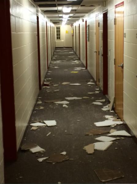 Commons hallways damaged