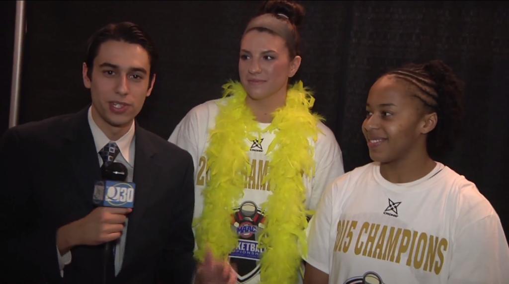 Quinnipiac%27s+Samantha+Guastella+and+Jasmine+Martin+react+to+NCAA+Tournament+berth