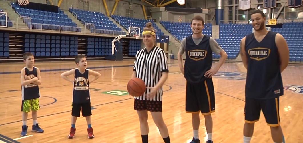 """Quinnipiac Tonight"" hosts 'have fun' with coach's kids"