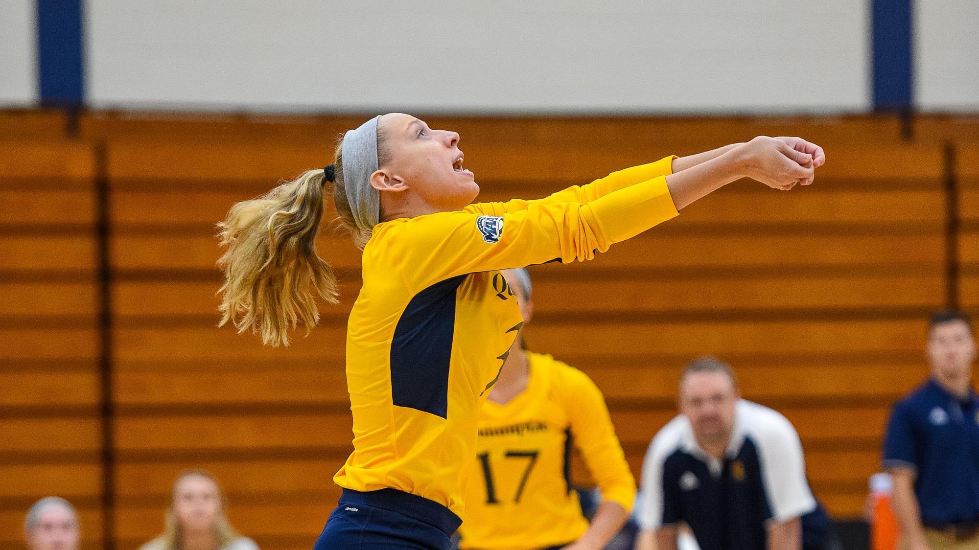 CCSU volleyball beats Quinnipiac in straight sets