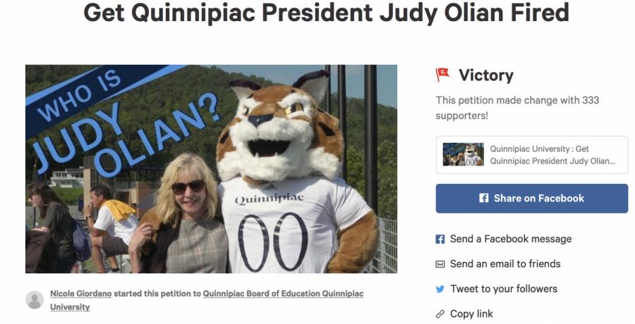 Quinnipiac student creates petition to fire President Olian