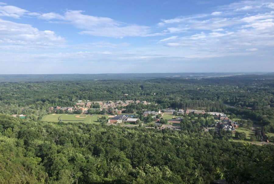 Quinnipiac University's Mount Carmel campus- photo taken atop Sleeping Giant State Park
