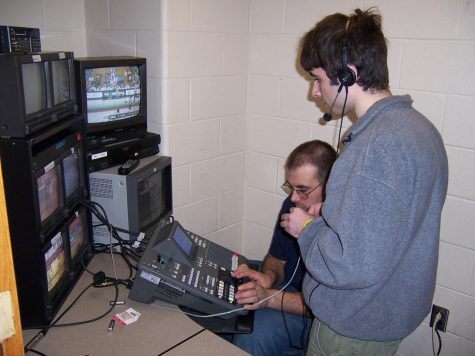 2006 - Live coverage for a basketball game in Burt Kahn Court. Cables were ran from the court to Ed McMahon for the live broadcast capability