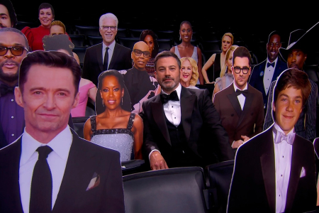 Jimmy Kimmel, center, appears in the audience with celebrity cut-outs during the 72nd Emmy Awards telecast on Sunday, Sept. 20, 2020 at 8:00 PM EDT/5:00 PM PDT on ABC. (Invision for the Television Academy/AP)