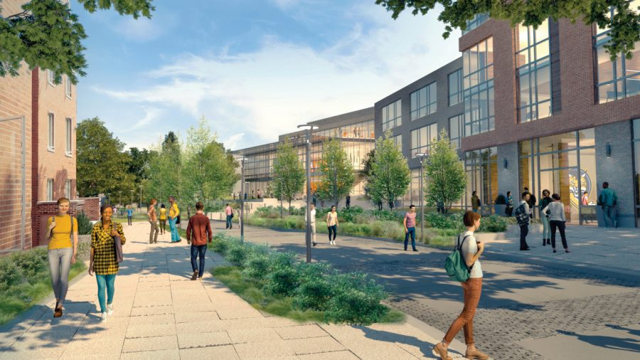 "Proposed rendering of Mount Carmel Campus Bobcat Way, looking east at new housing and new ""Bobcat Hub."""